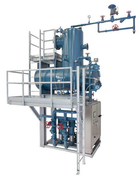 30,000 #/hr Duplex Tray Type Deaerator with galvanized platforms and ladders and NEMA #4X panel